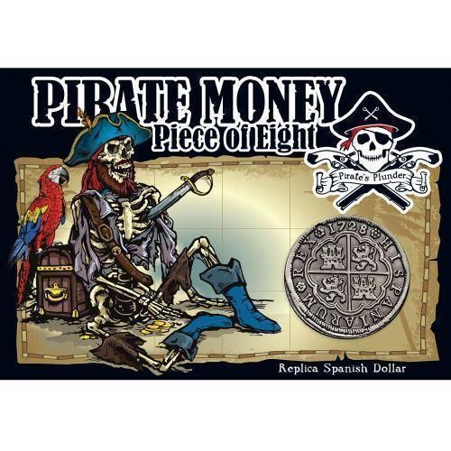 Pirate Money Piece of Eight Replica Spanish Dollar Antique Silver Plated Coin
