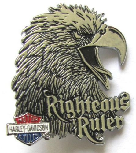 Harley Davidson Pin Badge Righteous Rules Silver Eagle Head
