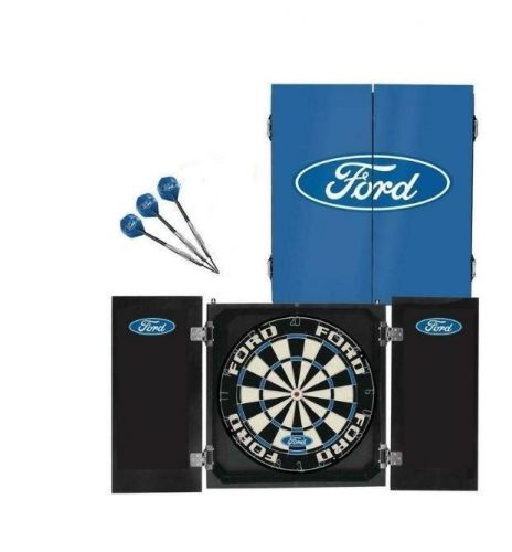 Ford Dartboard Dart Board in Timber Cabinet with 3 Darts Gift Set