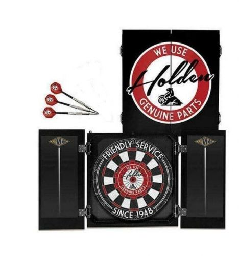 Holden Friendly Service Since 1948 Dartboard Dart Board in Timber Cabinet with 3 Darts Gift Set