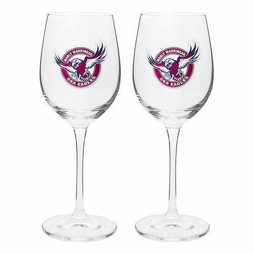 Manly Sea Eagles NRL Team 2 Pack Of 475mL Wine Glasses In Gift Box