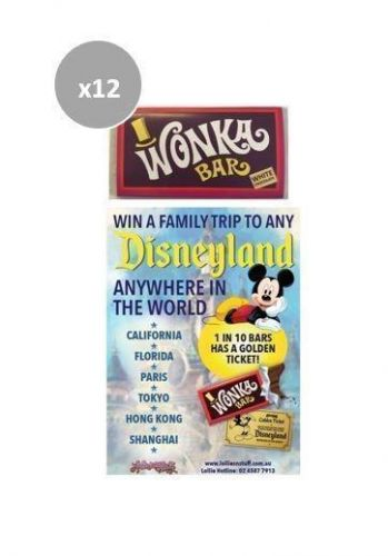 12 x Wonka Bar 50g Edible White Chocolate Bar FIND A GOLDEN TICKET - FOR A CHANCE TO WIN A FAMILY TRIP TO ANY DISNEYLAND ANYWHERE IN THE WORLD