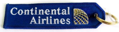 Continental Blue Airlines Aviation Fabric Keyring Key Ring
