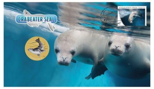 2018 $1 Crabeater Seal Stamp & Coin Cover PNC
