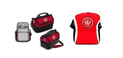 Set Of 2 Western Sydney Wanderers A-League Kids Cooler Bag Lunch Box Insulated Multi Storage & Official Mens Red Black And White Cap Hat