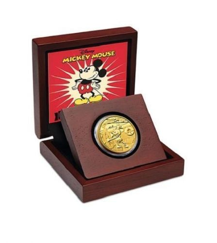 2014 Disney Mickey Mouse Steamboat Willie $25 1/4oz Gold Proof Coin COA #946 Niue Tender New Zealand NZ Mint