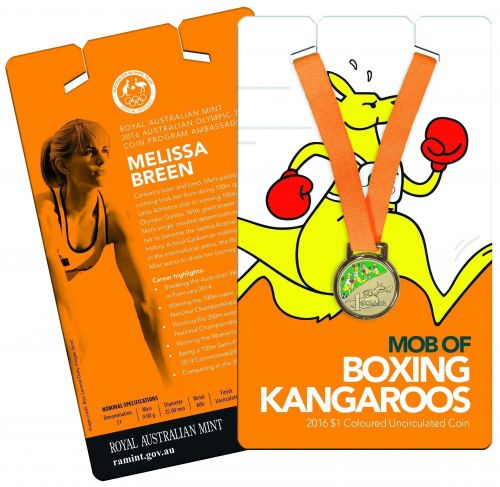 2016 $1 Boxing Kangaroo Rio Olympic Games 2016 Uncirculated Colour Printed Coin - ATHLETICS  Melissa Breen (RELEASED 4th July 2016)