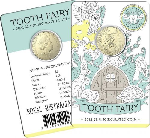 2021 Tooth Fairy $2 AlBr Uncirculated Coin in Card Royal Australian Mint RAM ***LIMIT 2 PER CUSTOMER***