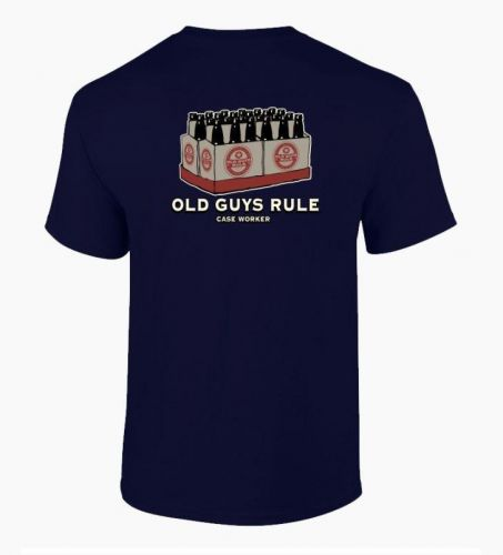 Old Guys Rule Case Worker Navy Tee Shirt T-shirt Mens Adult