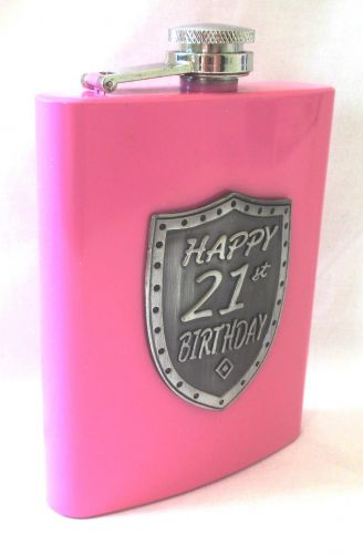 21st Birthday Pink 150ml Hip Flask With Badge In Gift Box