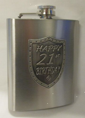 21st Birthday Silver 150ml Hip Flask With Badge In Gift Box