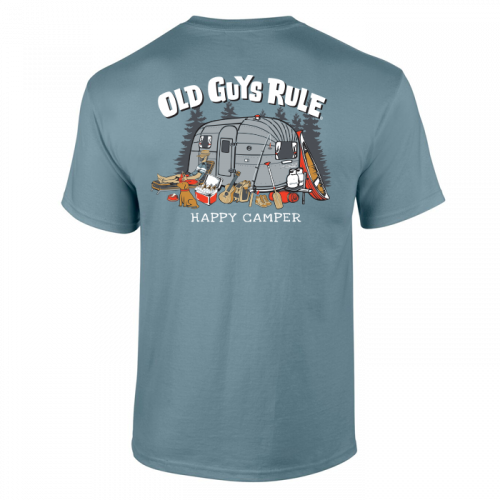 Old Guys Rule Happy Camper Stone Blue Tee Shirt T-shirt Mens Adult