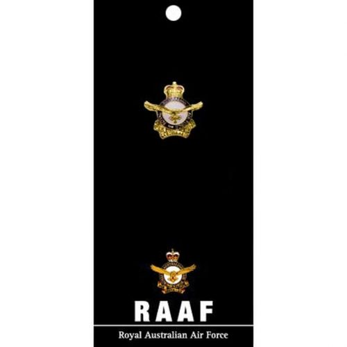 The Royal Australian Air Force RAAF 20mm Gold Plated Full Colour Enamel Lapel Pin Badge On Card