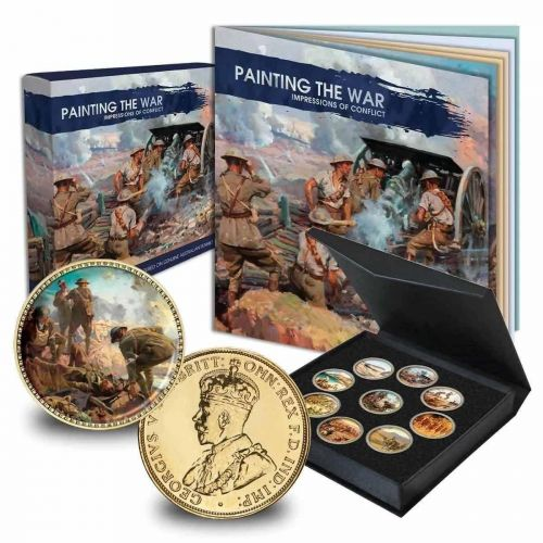 Painting The War WW1 Impressions of Conflict Enamel 9 Coin Penny Collection Of Australian King George V Pennies