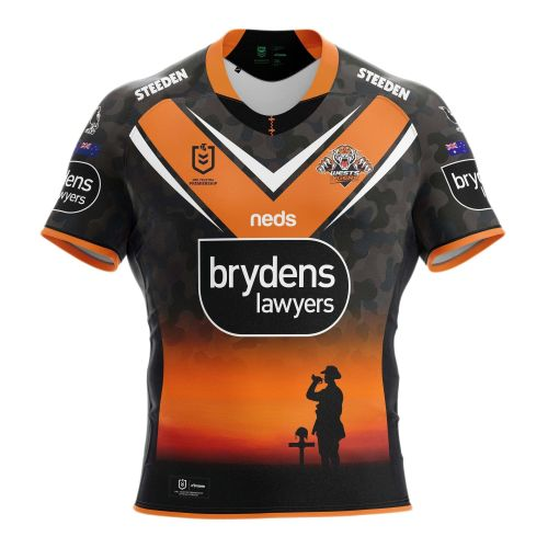 Wests Tigers NRL 2021 ANZAC Day Mens Adults Commemorative Jersey