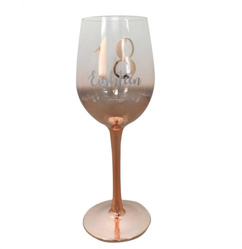 18th Birthday Rose Gold Ombre 430ml Wine Glass With Gold Lettering