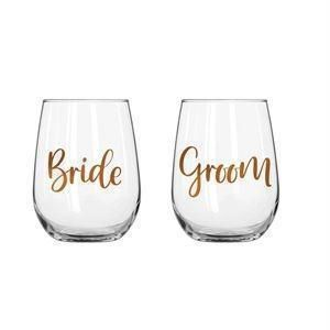 Bride And Groom Set Of Two 600ml Stemless Wine Glass With Rose Gold Phrase