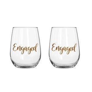Engaged Set Of Two 600ml Stemless Wine Glass With Rose Gold Phrase