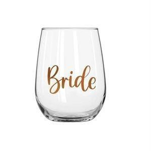 Bride 600ml Stemless Wine Glass With Rose Gold Phrase