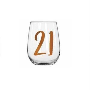 21st Birthday Rainbow 600ml Stemless Wine Glass With Rose Gold Lettering