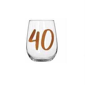 40th Birthday Rainbow 600ml Stemless Wine Glass With Rose Gold Lettering