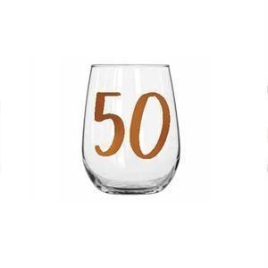 50th Birthday Rainbow 600ml Stemless Wine Glass With Rose Gold Lettering