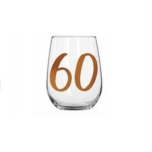 60th Birthday Rainbow 600ml Stemless Wine Glass With Rose Gold Lettering