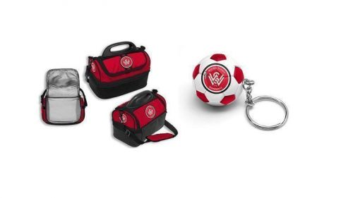 Set Of 2 Western Sydney Wanderers A-League Kids Cooler Bag Lunch Box Insulated Multi Storage & Soccer Ball Keyring Key Ring