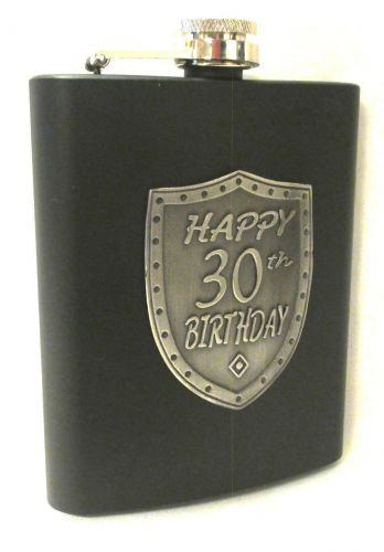 30th Birthday Black 150ml Hip Flask With Badge In Gift Box