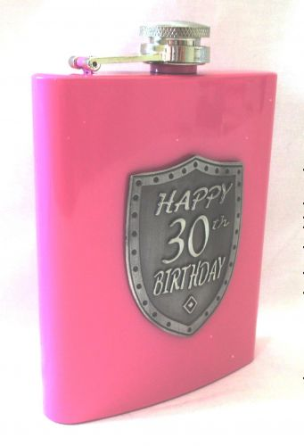 30th Birthday Pink 150ml Hip Flask With Badge In Gift Box