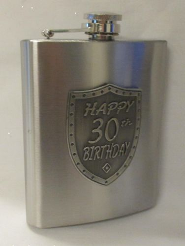 30th Birthday Silver 150ml Hip Flask With Badge In Gift Box