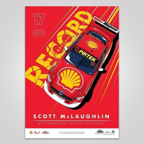 Scott McLaughlin Red Most Championship Race Wins In A Season Print Rolled Poster