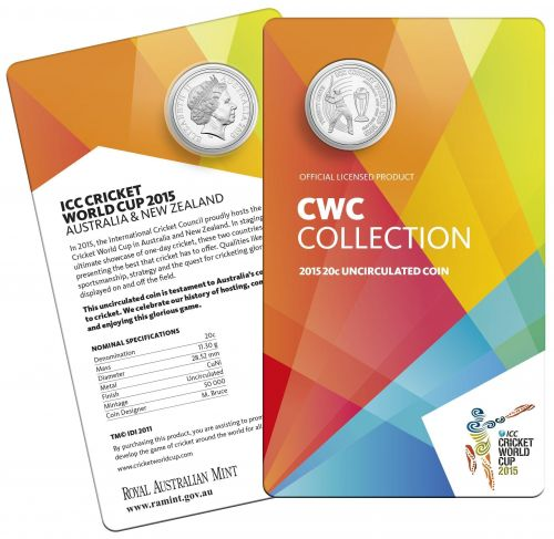 ICC Cricket World Cup 2015 Australia and New Zealand 20c Uncirculated Coin Royal Australian Mint