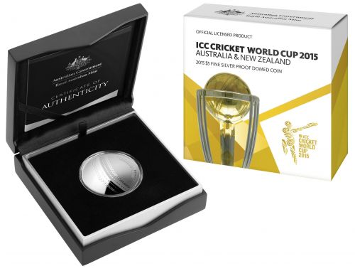 ICC Cricket World Cup 2015 Australia and New Zealand $5 Silver Proof Domed Coin Royal Australian Mint