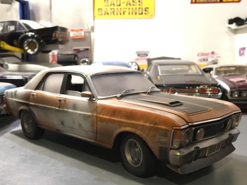 *CUSTOMISED* One Off Custom Model Barn Find Splotched - Ford XW Falcon Phase II GT-HO Die Cast Model Car 1:18 Scale