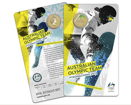 2018 $1 Pyeongchang 2018 Australian Olympic Team Coloured Frosted Uncirculated Coin Royal Australian Mint RAM