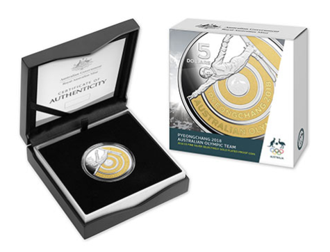 2018 Pyeongchang 2018 Australian Olympic Team 2018 $5 Fine Silver Selectively Gold Plated Proof Coin Royal Australian Mint RAM