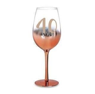 40th Birthday Rose Gold Ombre 430ml Wine Glass With Gold Lettering