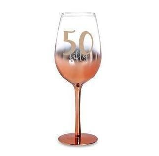 50th Birthday Rose Gold Ombre 430ml Wine Glass With Gold Lettering