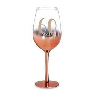 60th Birthday Rose Gold Ombre 430ml Wine Glass With Gold Lettering