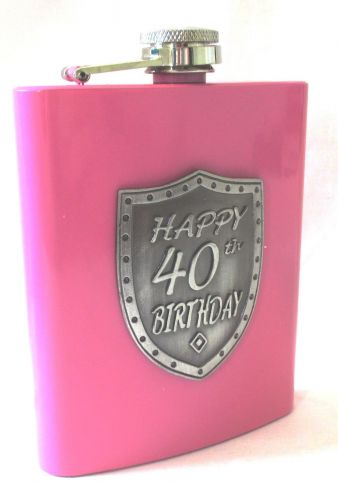 40th Birthday Pink 150ml Hip Flask With Badge In Gift Box