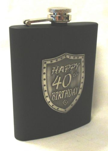 40th Birthday Black 150ml Hip Flask With Badge In Gift Box