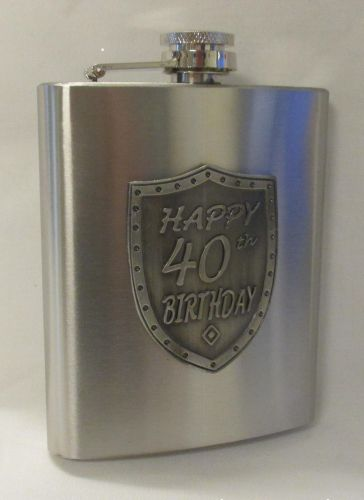 40th Birthday Silver 150ml Hip Flask With Badge In Gift Box