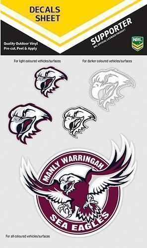 Manly Sea Eagles NRL Logo Set of 5 UV Car Decal Sticker Stickers Sheet iTag