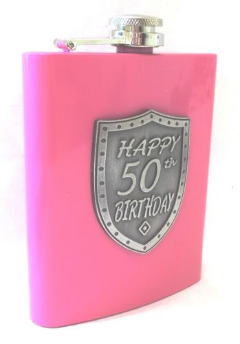 50th Birthday Pink 150ml Hip Flask With Badge In Gift Box