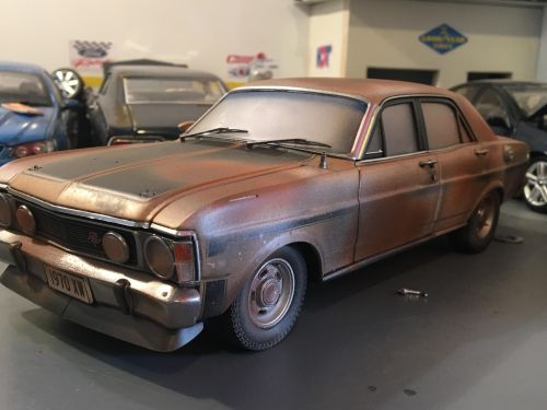 *CUSTOMISED* One Off Custom Model Barn Find Patched - Ford XW Falcon Phase II GT-HO Die Cast Model Car 1:18 Scale