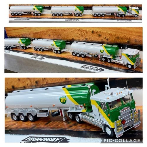 Highway Replicas BP Tanker Road Train Die Cast Model Truck With Additional Trailer & Dolly 1:64