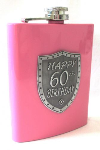 60th Birthday Pink 150ml Hip Flask With Badge In Gift Box