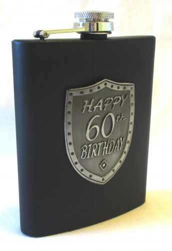 60th Birthday Black 150ml Hip Flask With Badge In Gift Box