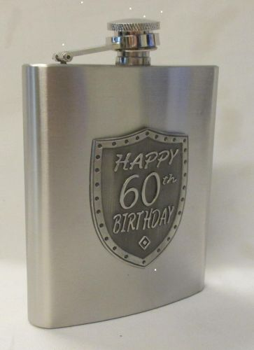 60th Birthday Silver 150ml Hip Flask With Badge In Gift Box